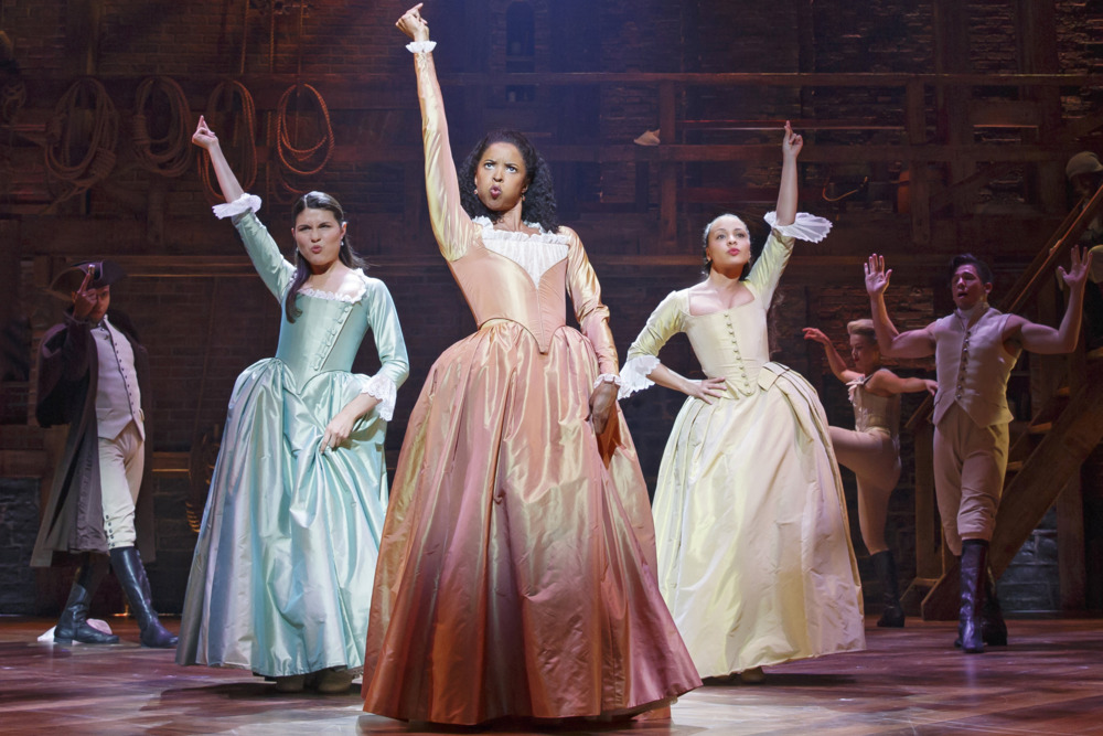 HAMILTON - 2015 PRESS ART - Richard Rodgers Theatre - Pictured: Phillipa Soo, Rene Elise Goldsberry and Jasmine Cephas Jones - Photo Credit: Joan Marcus